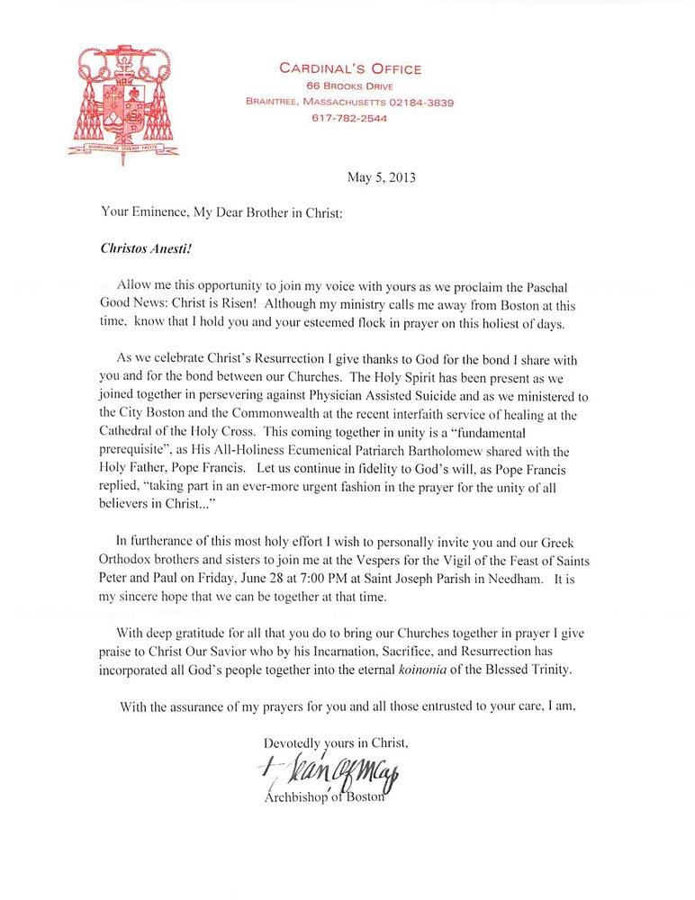 Cardinal Omalleys Easter Wishes To Metropolitan Methodios Greek